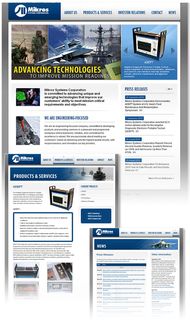 research and development company website design