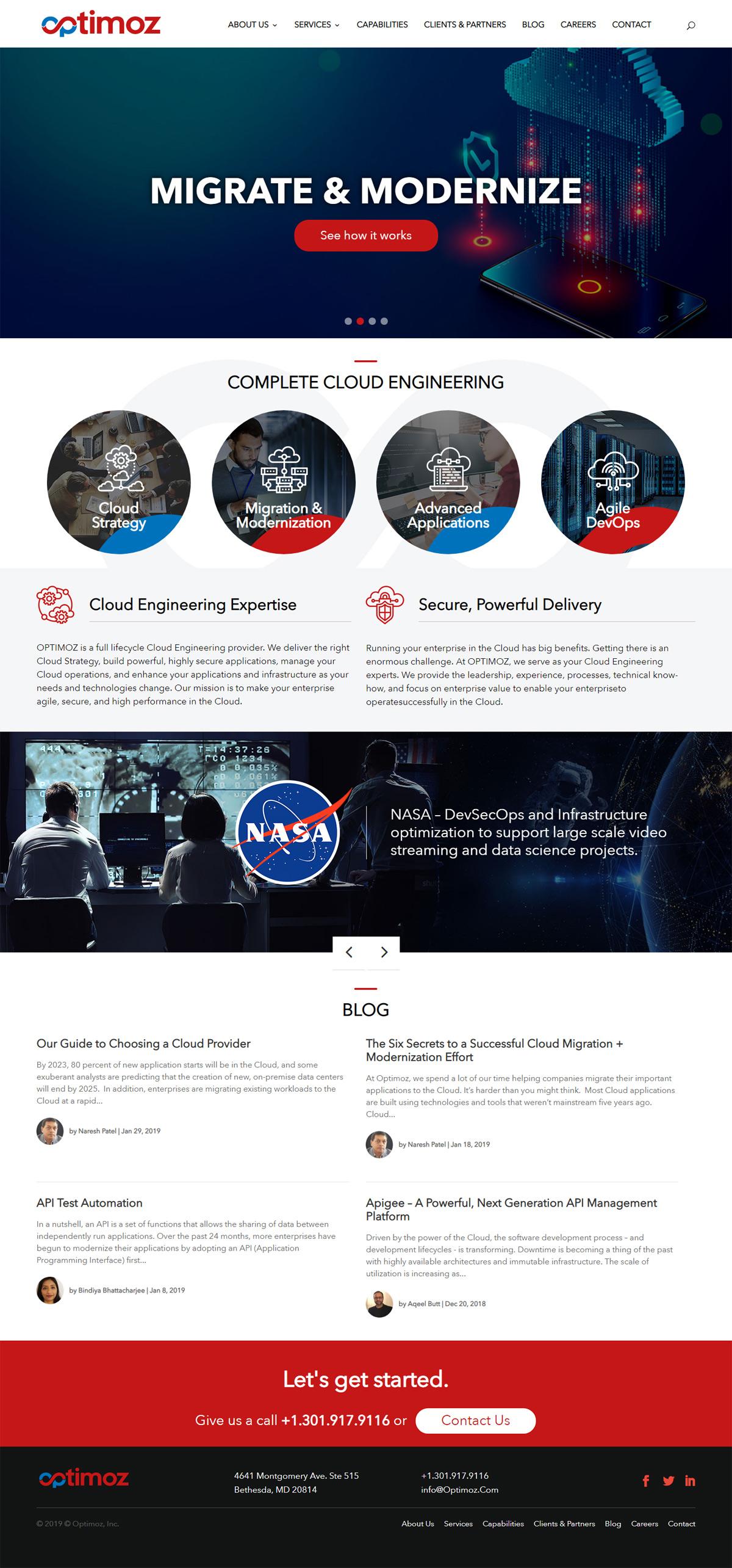 Web Design For Optimoz Bethesda And Washington Dc Cloud Computing Company Lightmix